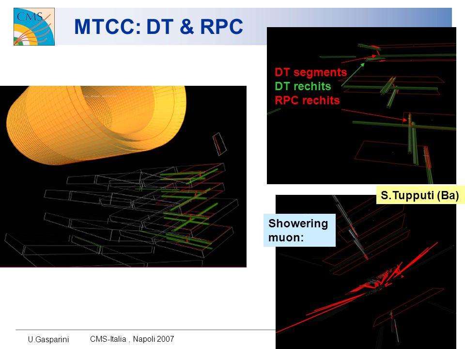 U.Gasparini CMS-Italia, Napoli 2007 6 MTCC: DT & RPC S.Tupputi (Ba) DT segments DT rechits RPC rechits Showering muon: