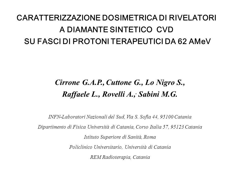 CARATTERIZZAZIONE DOSIMETRICA DI RIVELATORI A DIAMANTE SINTETICO CVD SU FASCI DI PROTONI TERAPEUTICI DA 62 AMeV Cirrone G.A.P., Cuttone G., Lo Nigro S