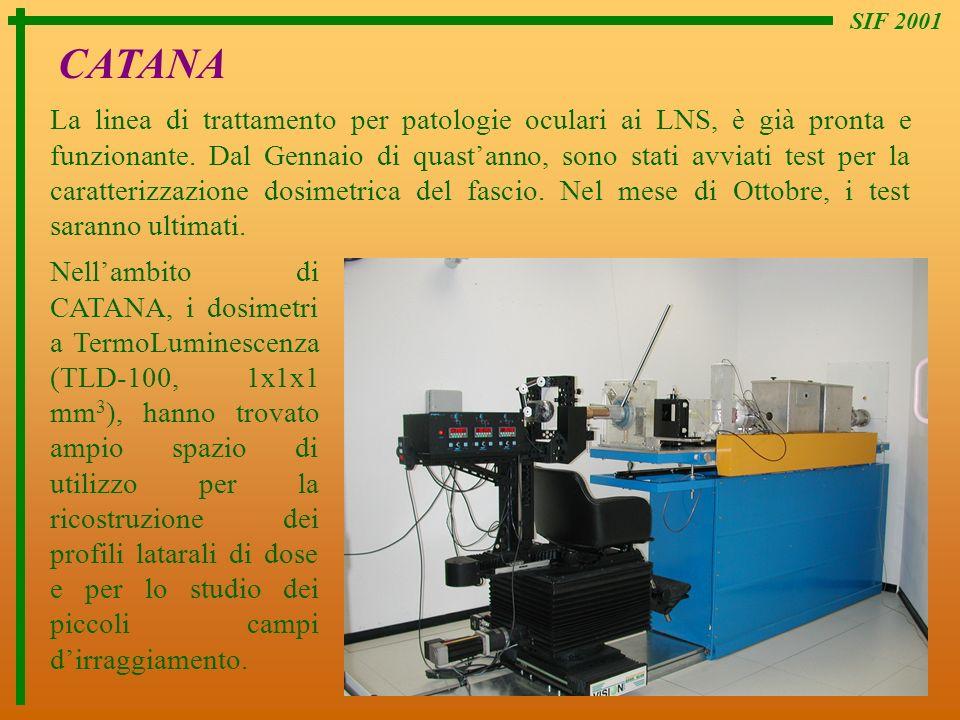 SIF 2001 CATANA La linea di trattamento per patologie oculari ai LNS, è già pronta e funzionante. Dal Gennaio di quastanno, sono stati avviati test pe