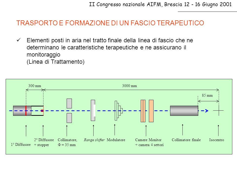 II Congresso nazionale AIFM, Brescia 12 - 16 Giugno 2001 CONCLUSIONI FASCIO NON MODULATO FULL ENERGY, 62 AMeV, = 25mm FASCIO MODULATO AL CENTRO DELLO SOBP, = 25mm