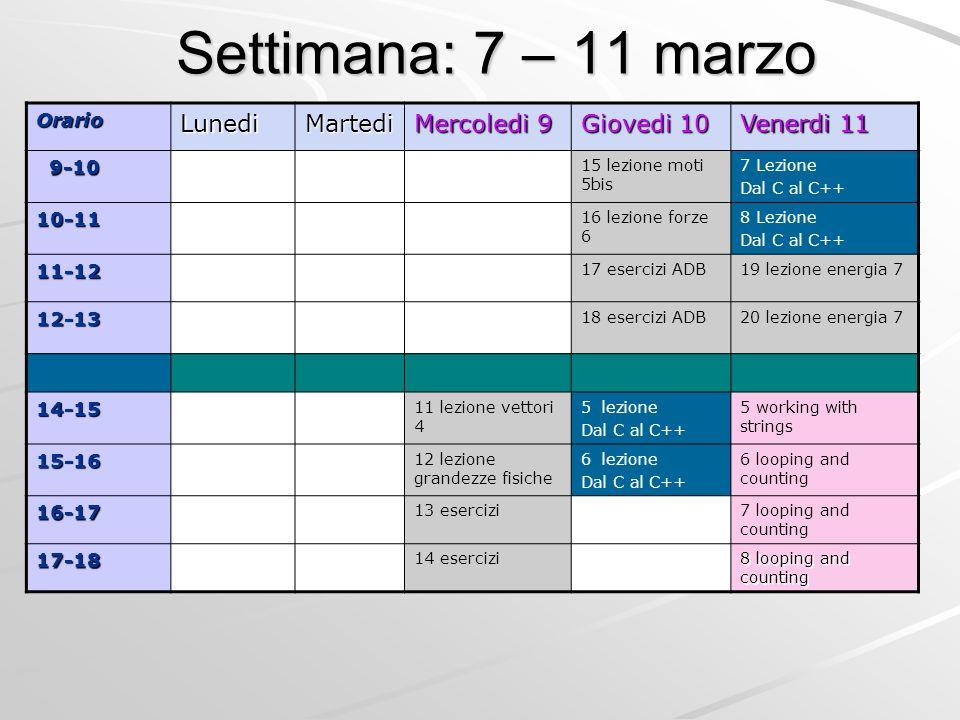Settimana: 7 – 11 marzo OrarioLunediMartedi Mercoledi 9 Giovedi 10 Venerdi 11 9-10 9-10 15 lezione moti 5bis 7 Lezione Dal C al C++ 10-11 16 lezione f