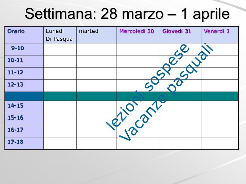 Settimana: 28 marzo – 1 aprile OrarioLunedi Di Pasqua martedi Mercoledi 30 Giovedi 31 Venerdi 1 9-10 9-10 10-11 11-12 12-13 14-15 15-16 16-17 17-18 lezioni sospese Vacanze pasquali
