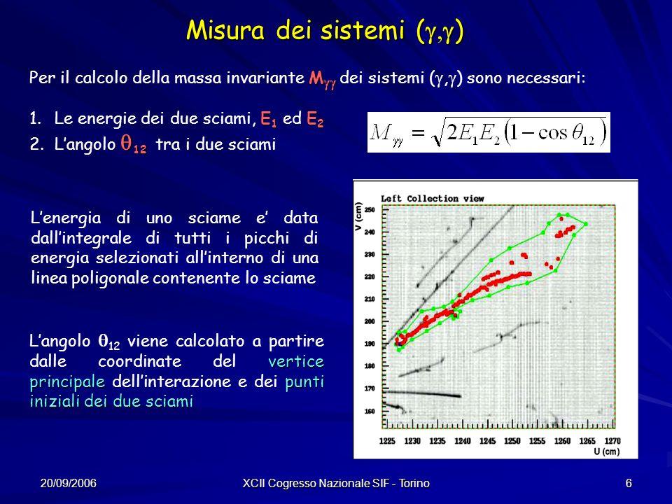 20/09/2006 XCII Cogresso Nazionale SIF - Torino 6 Misura dei sistemi ( ) M Per il calcolo della massa invariante M dei sistemi (, ) sono necessari: E 1 E 2 1.Le energie dei due sciami, E 1 ed E 2 12 2.Langolo 12 tra i due sciami Lenergia di uno sciame e data dallintegrale di tutti i picchi di energia selezionati allinterno di una linea poligonale contenente lo sciame vertice principale punti iniziali dei due sciami Langolo 12 viene calcolato a partire dalle coordinate del vertice principale dellinterazione e dei punti iniziali dei due sciami