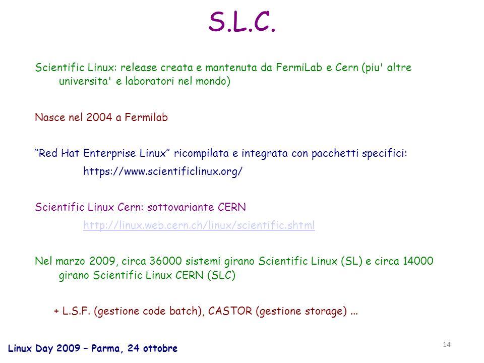Linux Day 2009 – Parma, 24 ottobre 14 S.L.C.