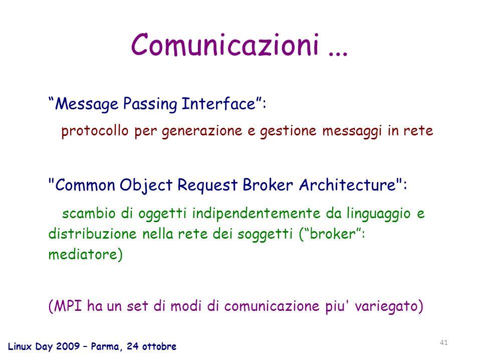 Linux Day 2009 – Parma, 24 ottobre 41 Comunicazioni...