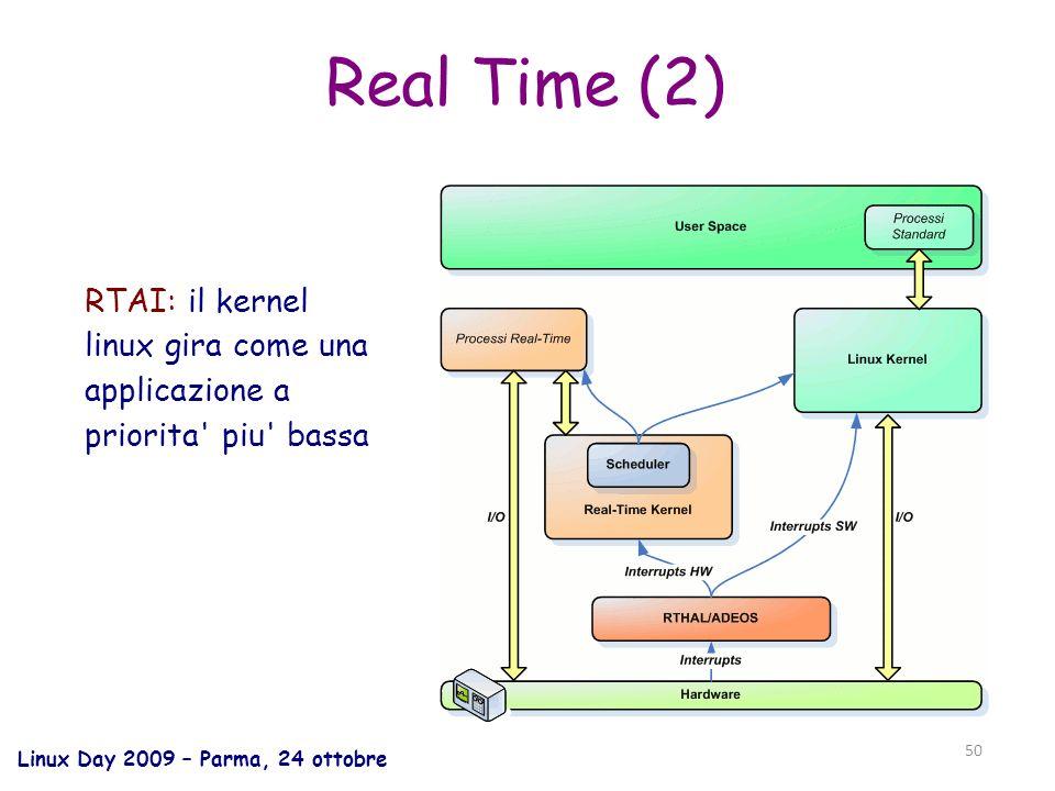 Linux Day 2009 – Parma, 24 ottobre 50 Real Time (2) RTAI: il kernel linux gira come una applicazione a priorita piu bassa