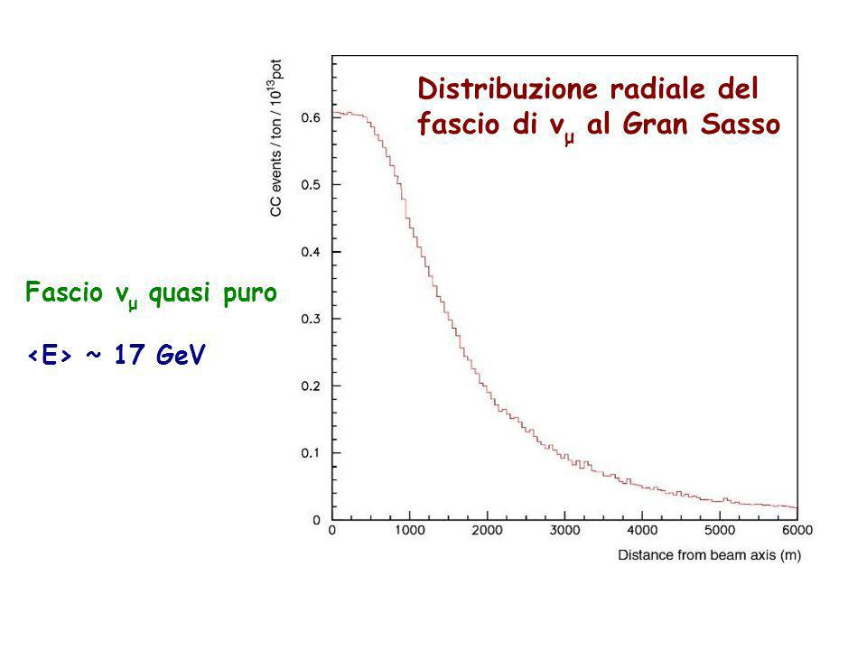 Parma, 19 novembre 2011 Distribuzione radiale del fascio di ν μ al Gran Sasso Fascio ν μ quasi puro ~ 17 GeV