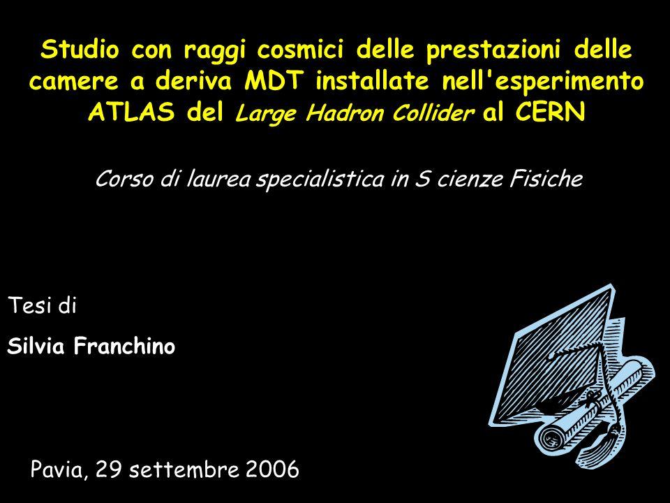 Studio con raggi cosmici delle prestazioni delle camere a deriva MDT installate nell'esperimento ATLAS del Large Hadron Collider al CERN Pavia, 29 set