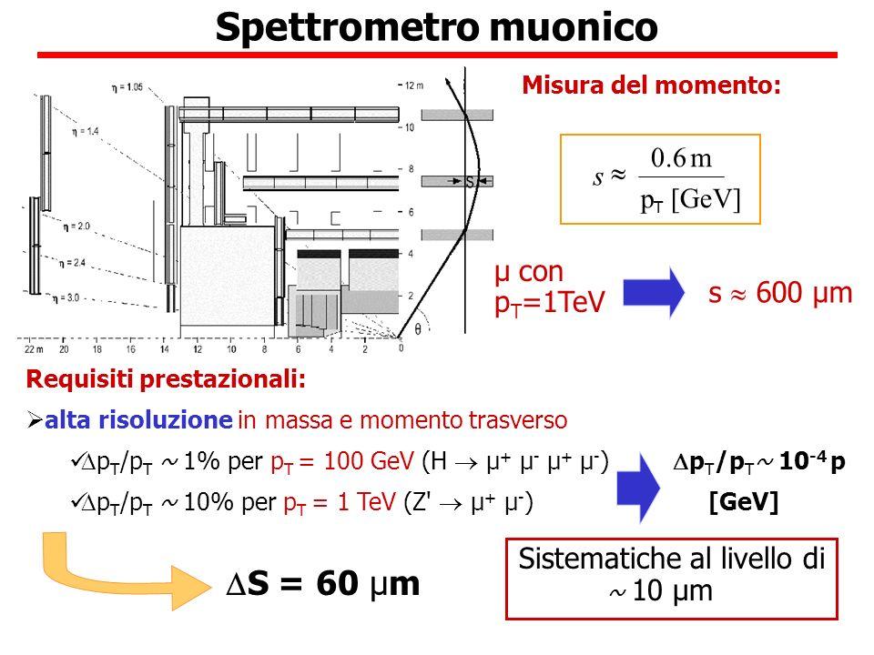 Spettrometro muonico µ con p T =1TeV s 600 µm Requisiti prestazionali: alta risoluzione in massa e momento trasverso p T /p T ~ 1% per p T = 100 GeV (