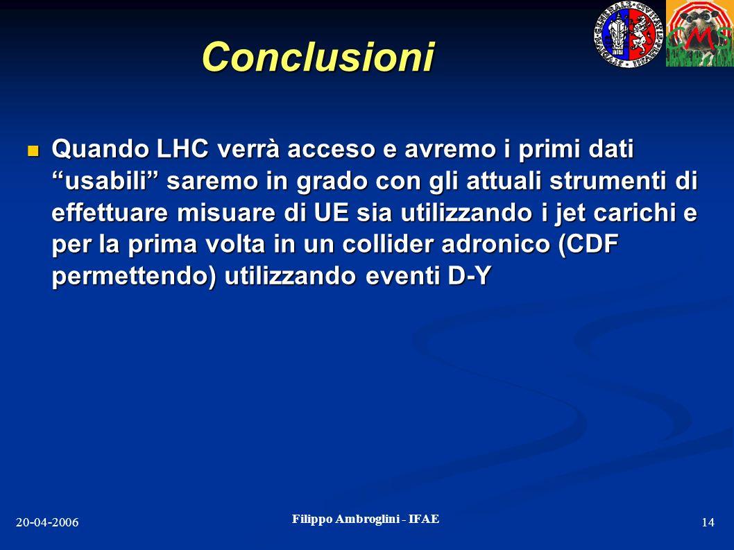 Filippo Ambroglini - IFAE 20-04-200614 Conclusioni Quando LHC verrà acceso e avremo i primi dati usabili saremo in grado con gli attuali strumenti di