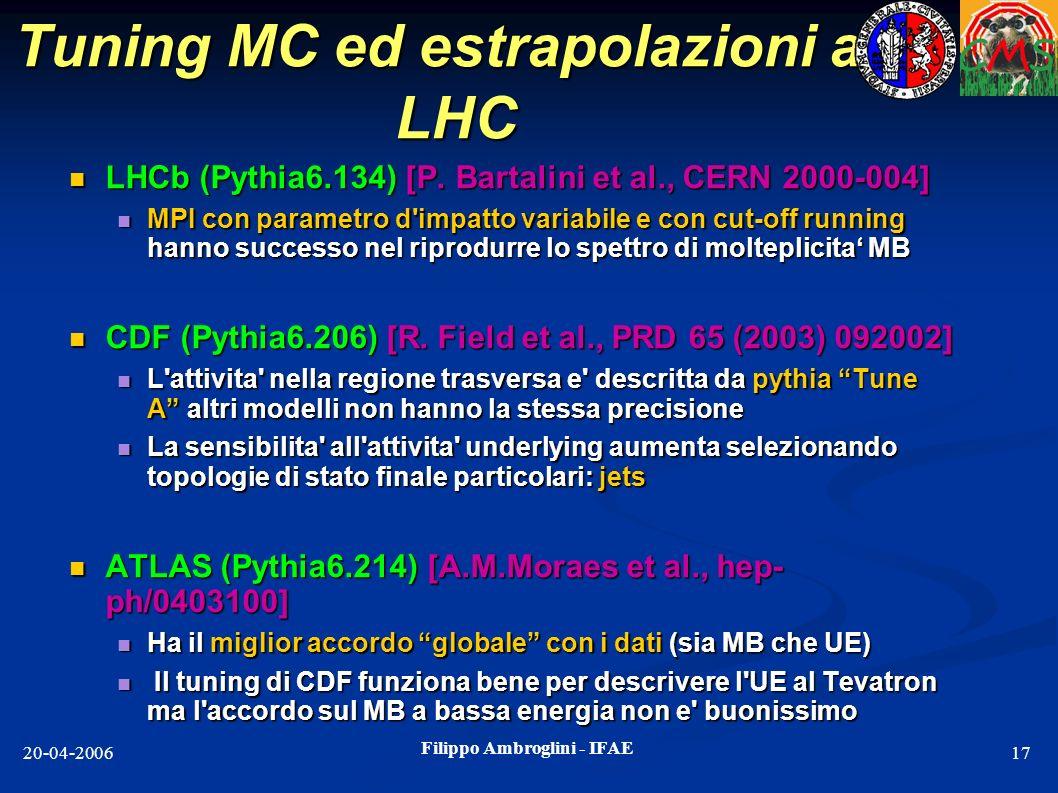 Filippo Ambroglini - IFAE 20-04-200617 Tuning MC ed estrapolazioni ad LHC LHCb (Pythia6.134) [P. Bartalini et al., CERN 2000-004] LHCb (Pythia6.134) [