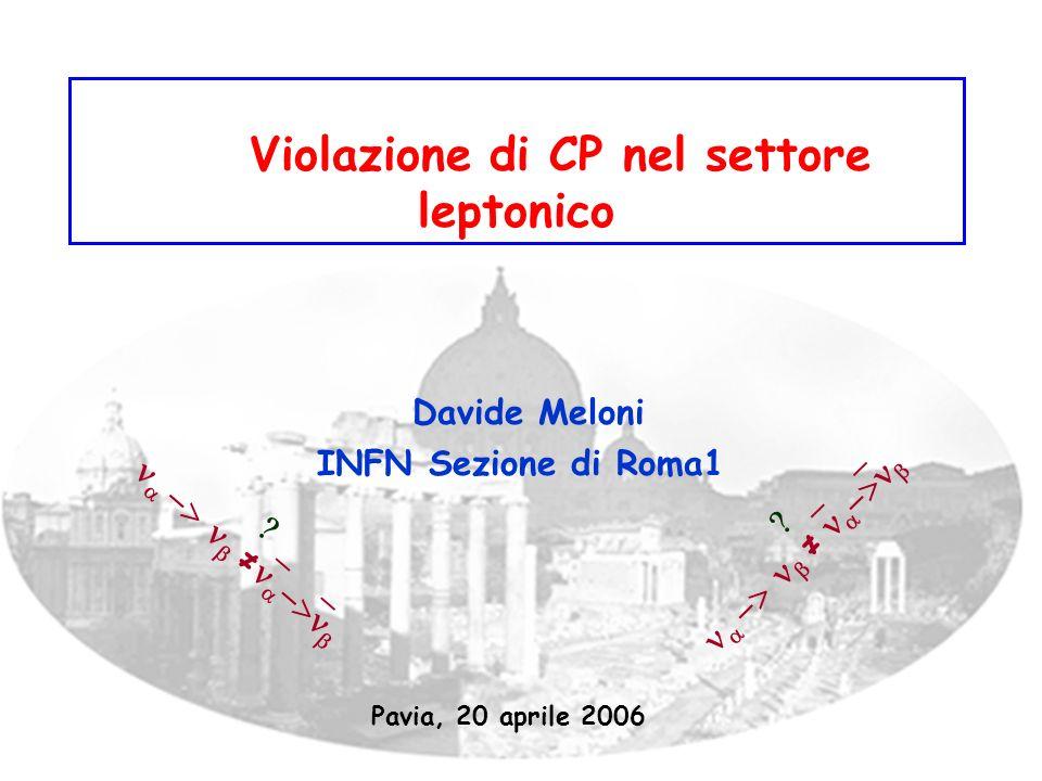Violazione di CP nel settore leptonico Davide Meloni INFN Sezione di Roma1 Pavia, 20 aprile 2006
