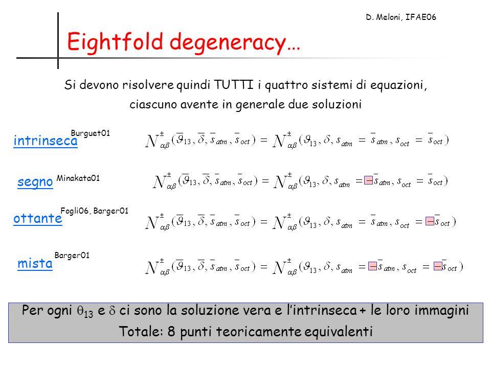 D. Meloni, IFAE06 Eightfold degeneracy… intrinseca segno ottante mista Burguet01 Minakata01 Fogli06, Barger01 Barger01 Si devono risolvere quindi TUTT