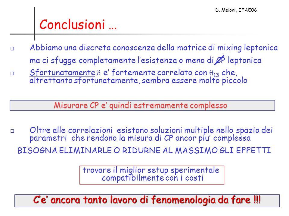 D. Meloni, IFAE06 Conclusioni … Abbiamo una discreta conoscenza della matrice di mixing leptonica ma ci sfugge completamente lesistenza o meno di CP l