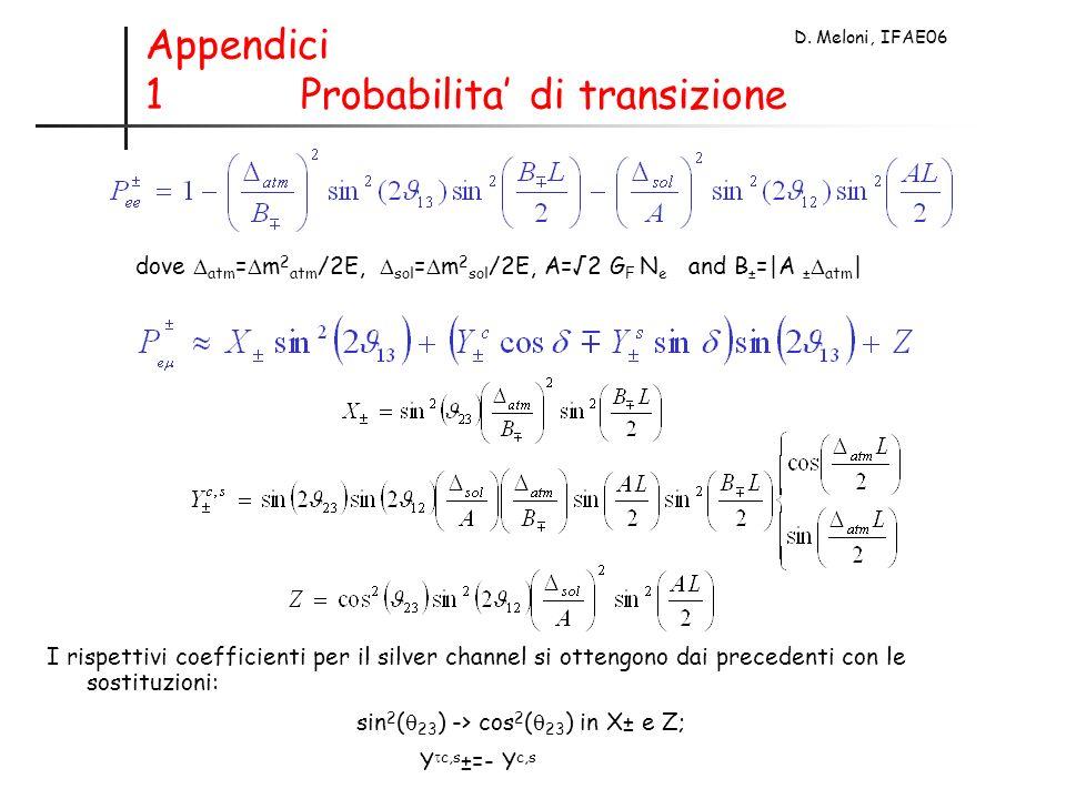 D. Meloni, IFAE06 Appendici 1 Probabilita di transizione dove atm = m 2 atm /2E, sol = m 2 sol /2E, A=2 G F N e and B ± =|A ± atm | I rispettivi coeff