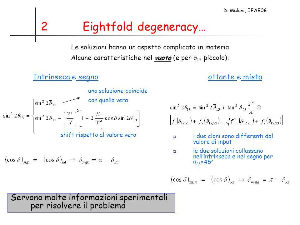 D. Meloni, IFAE06 2 Eightfold degeneracy… Le soluzioni hanno un aspetto complicato in materia vuoto Alcune caratteristiche nel vuoto (e per 13 piccolo