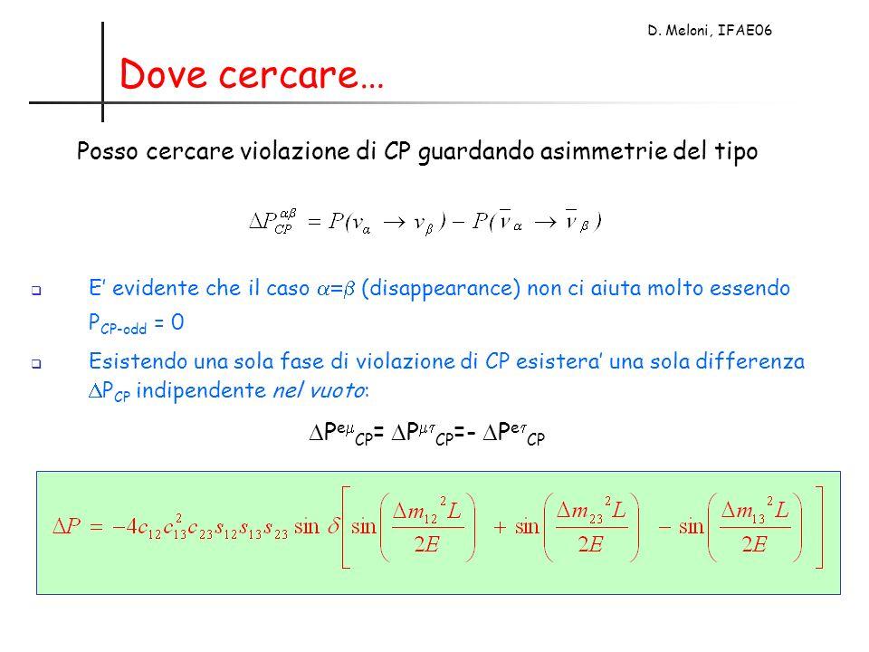 D. Meloni, IFAE06 Dove cercare… Posso cercare violazione di CP guardando asimmetrie del tipo E evidente che il caso (disappearance) non ci aiuta molto