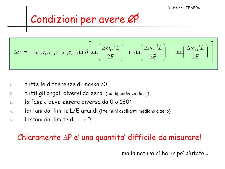 D. Meloni, IFAE06 Condizioni per avere CP 1. tutte le differenze di massa 0 2.