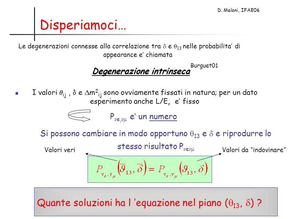 D. Meloni, IFAE06 Disperiamoci… Le degenerazioni connesse alla correlazione tra e 13 nelle probabilita di appearance e chiamata Degenerazione intrinse