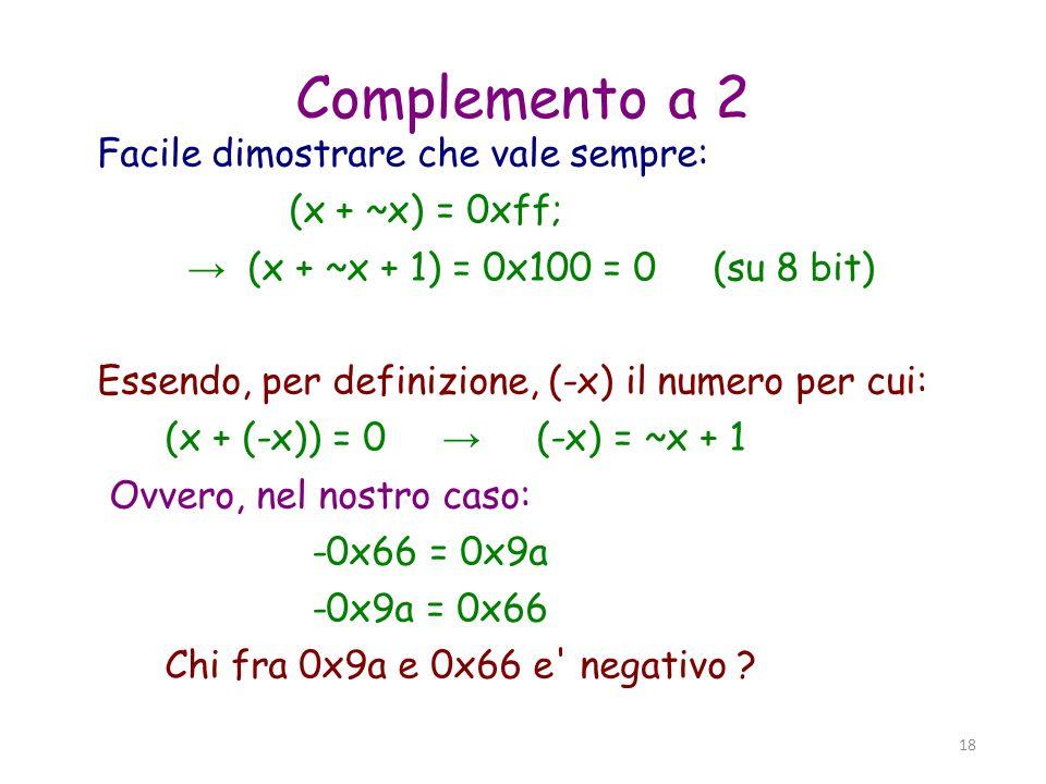 19 Complemento a 2 (2) 0X9a = 1001 1010 0x66 = 0110 0110 Convenzione: bit piu significativo (msb) = bit di segno: (msb == 1) numeri negativi (msb == 0) numeri positivi Valore numerico: (msb == 0) v = x (as usual) (msb == 1) v = -(~x+1)