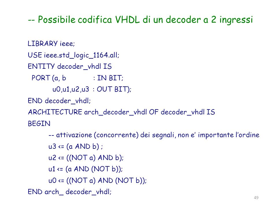 49 -- Possibile codifica VHDL di un decoder a 2 ingressi LIBRARY ieee; USE ieee.std_logic_1164.all; ENTITY decoder_vhdl IS PORT (a, b : IN BIT; u0,u1,
