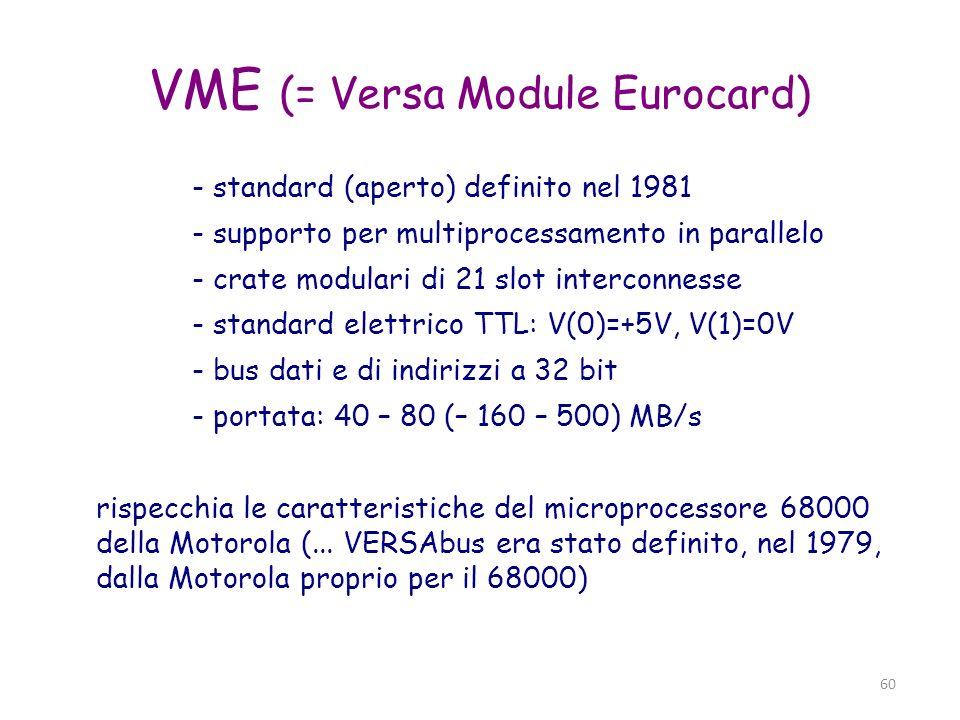 61 VME bus - bus dati: 8-16-24-32-64 bit - bus indirizzi: 16-24-32-40-64 bit (+ address modifier) - trasferimenti asincroni (master/slave) - arbitraggio (in slot 1) - 7 livelli di interrupt