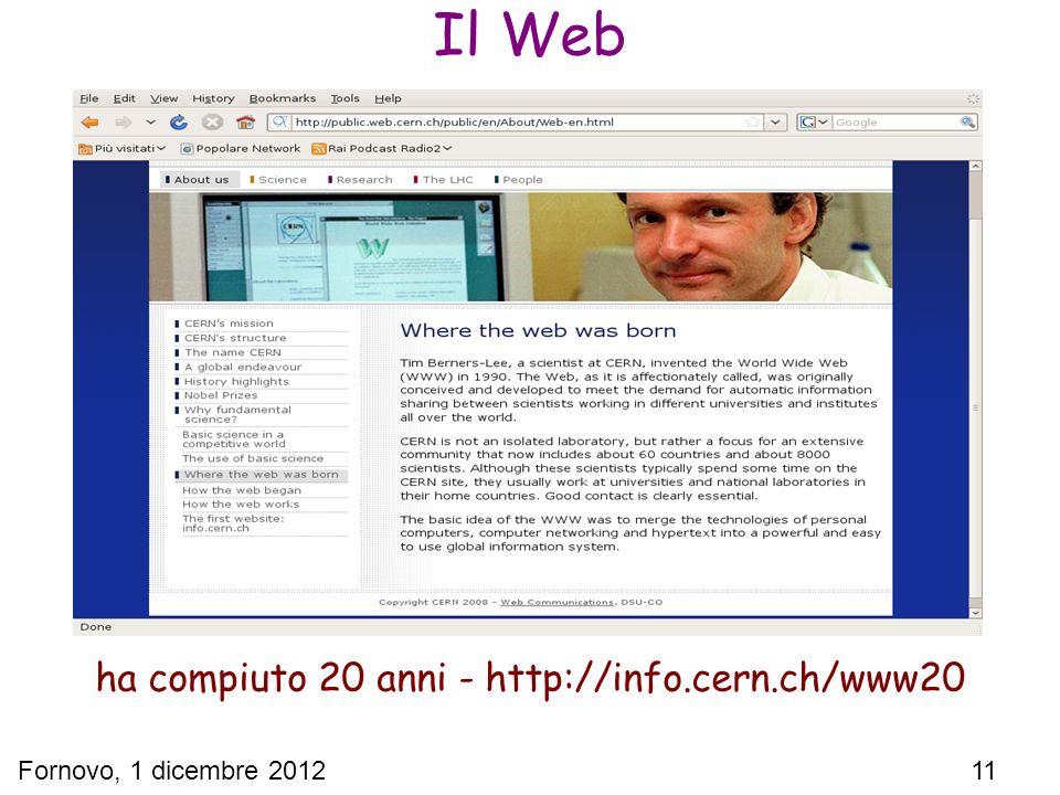 Fornovo, 1 dicembre 2012 11 Il Web ha compiuto 20 anni - http://info.cern.ch/www20