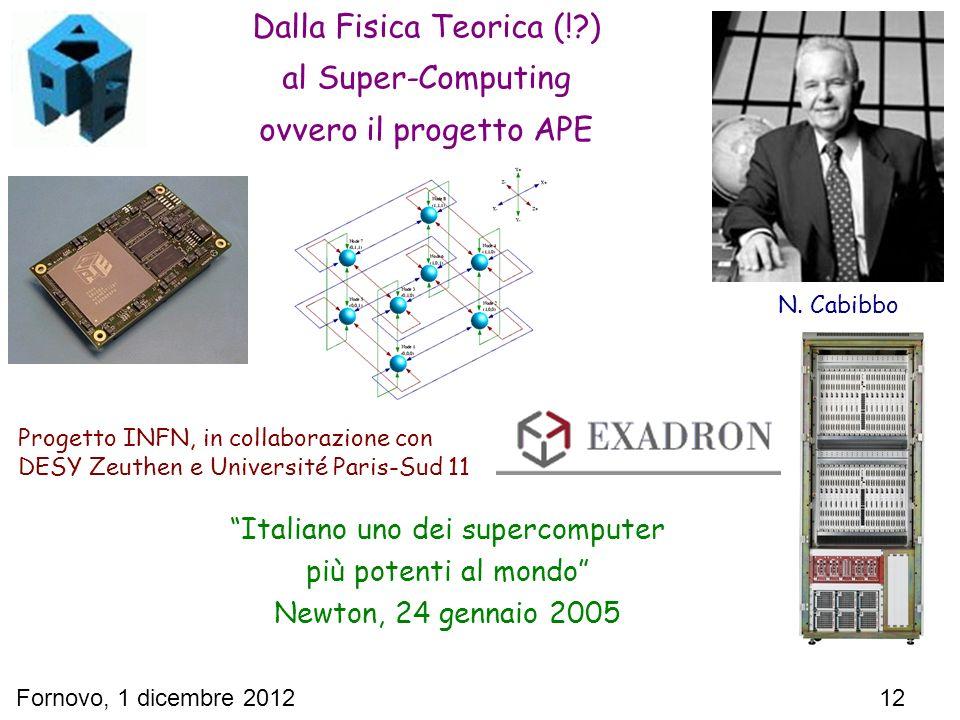 Fornovo, 1 dicembre 2012 12 Dalla Fisica Teorica (!?) al Super-Computing ovvero il progetto APE Italiano uno dei supercomputer più potenti al mondo Ne