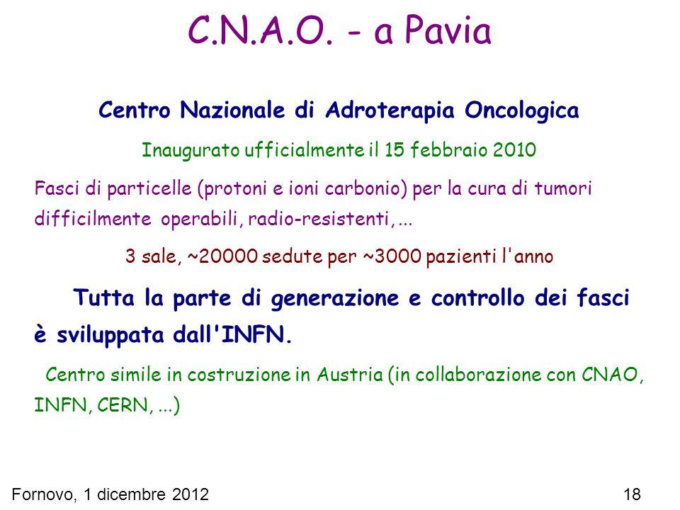 Fornovo, 1 dicembre 2012 18 Centro Nazionale di Adroterapia Oncologica Inaugurato ufficialmente il 15 febbraio 2010 Fasci di particelle (protoni e ion