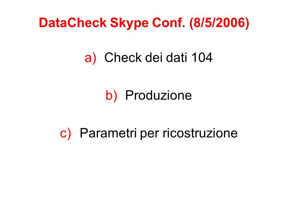 Check dei dati 104 (Rapporto di He) Buona idea test su diverse parti apparato (anche con spt visto diverso comportamento) Controllare livello strip Controllo a campionamento Chi ?.