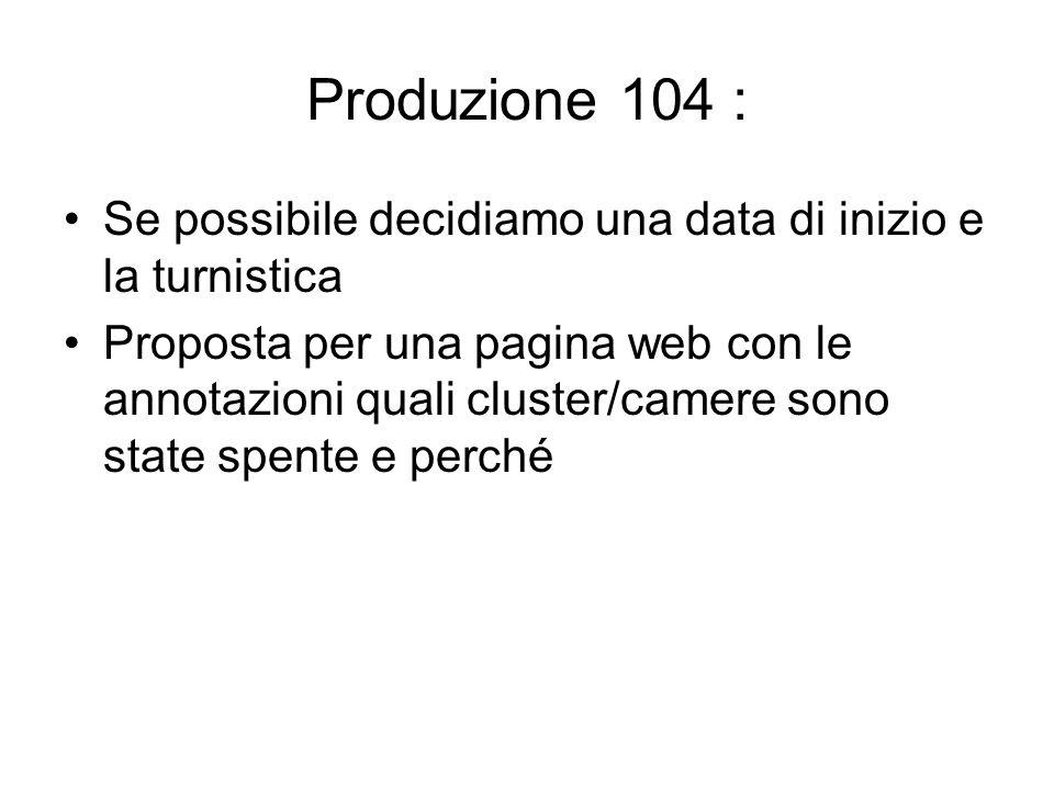 Produzione 104 : Se possibile decidiamo una data di inizio e la turnistica Proposta per una pagina web con le annotazioni quali cluster/camere sono state spente e perché