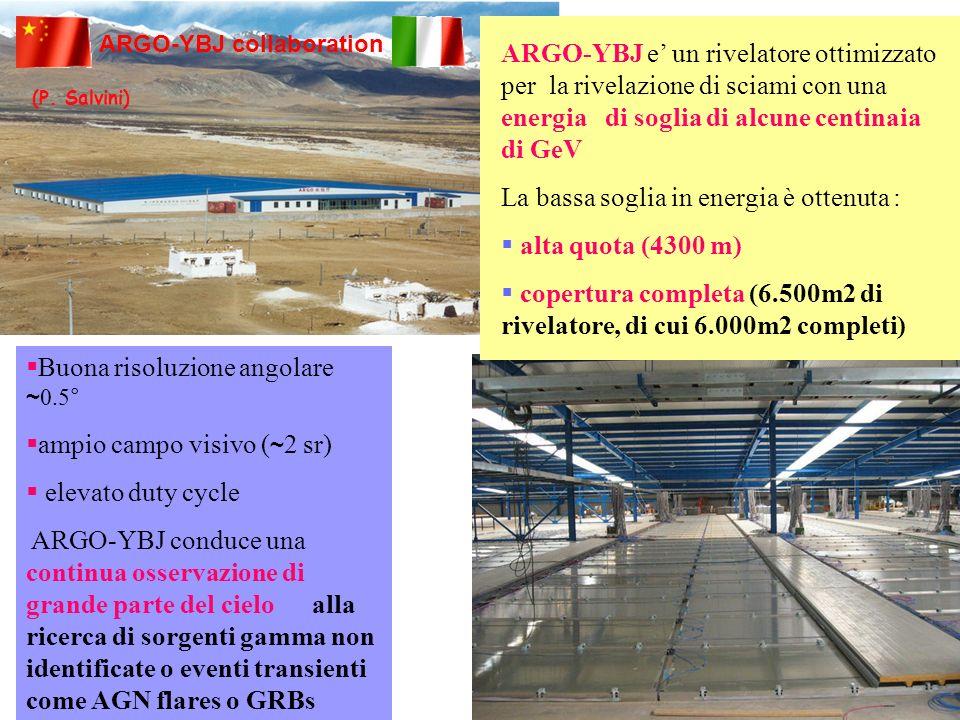 ARGO-YBJ collaboration ARGO-YBJ e un rivelatore ottimizzato per la rivelazione di sciami con una energia di soglia di alcune centinaia di GeV La bassa soglia in energia è ottenuta : alta quota (4300 m) copertura completa (6.500m2 di rivelatore, di cui 6.000m2 completi) Buona risoluzione angolare ~ 0.5° ampio campo visivo ( ~ 2 sr) elevato duty cycle ARGO-YBJ conduce una continua osservazione di grande parte del cielo alla ricerca di sorgenti gamma non identificate o eventi transienti come AGN flares o GRBs (P.