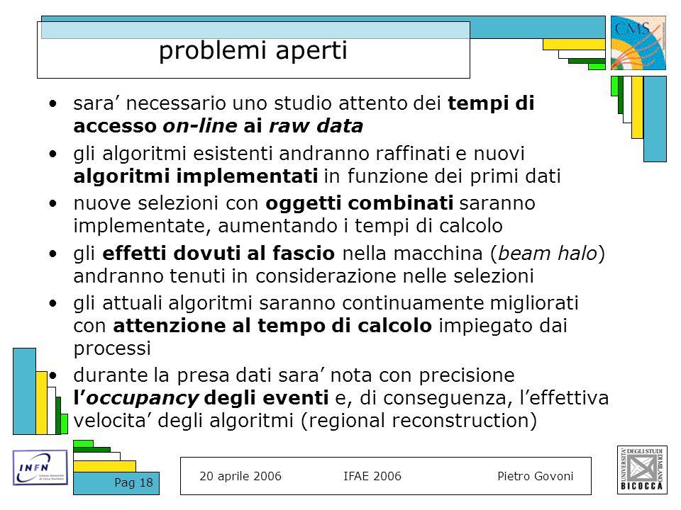 20 aprile 2006IFAE 2006Pietro Govoni Pag 18 problemi aperti sara necessario uno studio attento dei tempi di accesso on-line ai raw data gli algoritmi