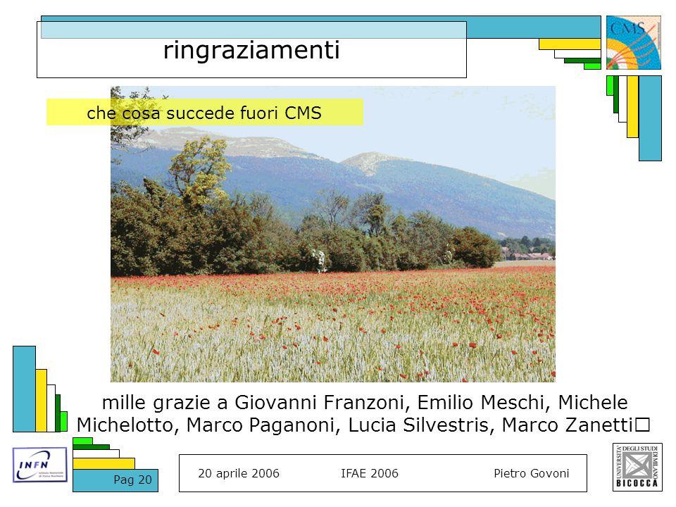 20 aprile 2006IFAE 2006Pietro Govoni Pag 20 ringraziamenti mille grazie a Giovanni Franzoni, Emilio Meschi, Michele Michelotto, Marco Paganoni, Lucia