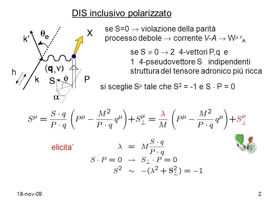 18-nov-092 DIS inclusivo polarizzato se S=0 . violazione della parità processo debole .