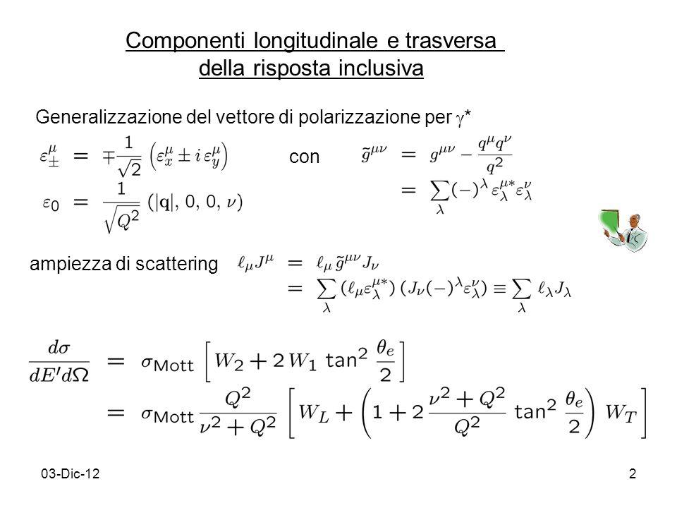 03-Dic-122 Componenti longitudinale e trasversa della risposta inclusiva Generalizzazione del vettore di polarizzazione per * con ampiezza di scattering