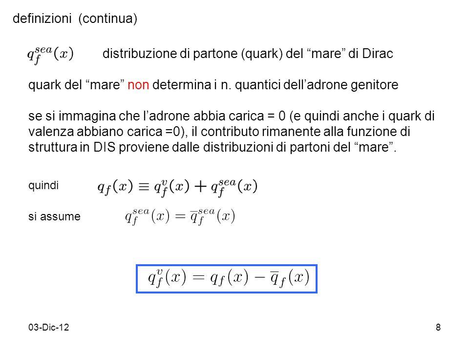 03-Dic-128 definizioni (continua) distribuzione di partone (quark) del mare di Dirac quark del mare non determina i n.