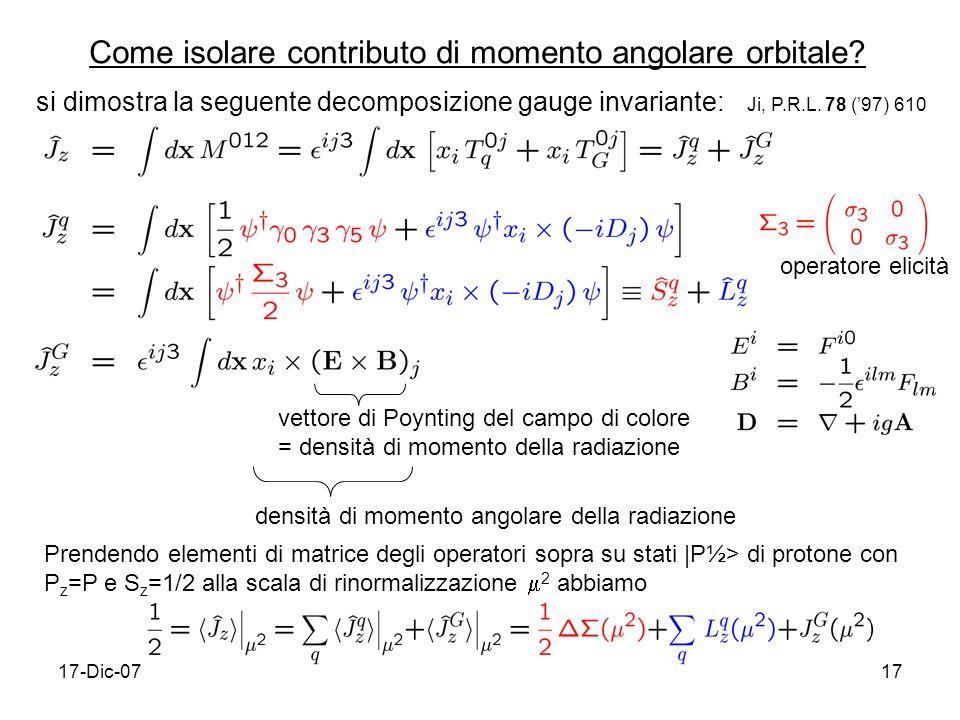 17-Dic-0717 Come isolare contributo di momento angolare orbitale.