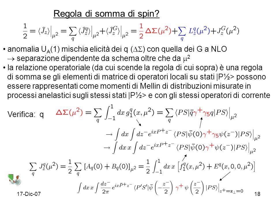 17-Dic-0718 Regola di somma di spin.