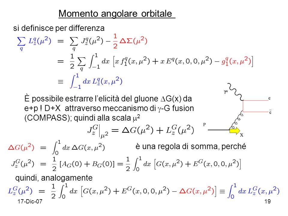 17-Dic-0719 Momento angolare orbitale si definisce per differenza È possibile estrarre lelicità del gluone G(x) da e+p .
