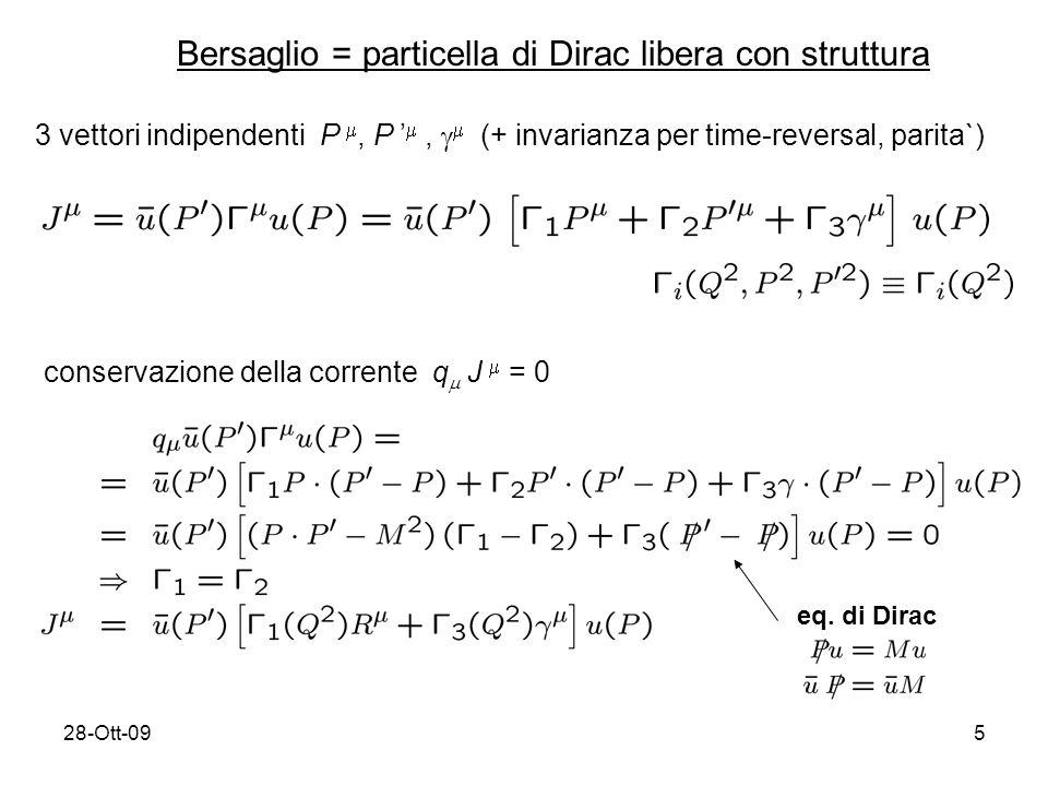 28-Ott-095 Bersaglio = particella di Dirac libera con struttura 3 vettori indipendenti P, P, (+ invarianza per time-reversal, parita`) conservazione della corrente q J = 0 eq.