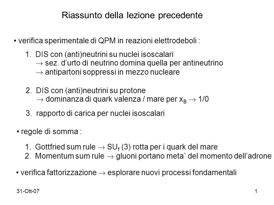 31-Ott-071 Riassunto della lezione precedente verifica sperimentale di QPM in reazioni elettrodeboli : 1.DIS con (anti)neutrini su nuclei isoscalari .