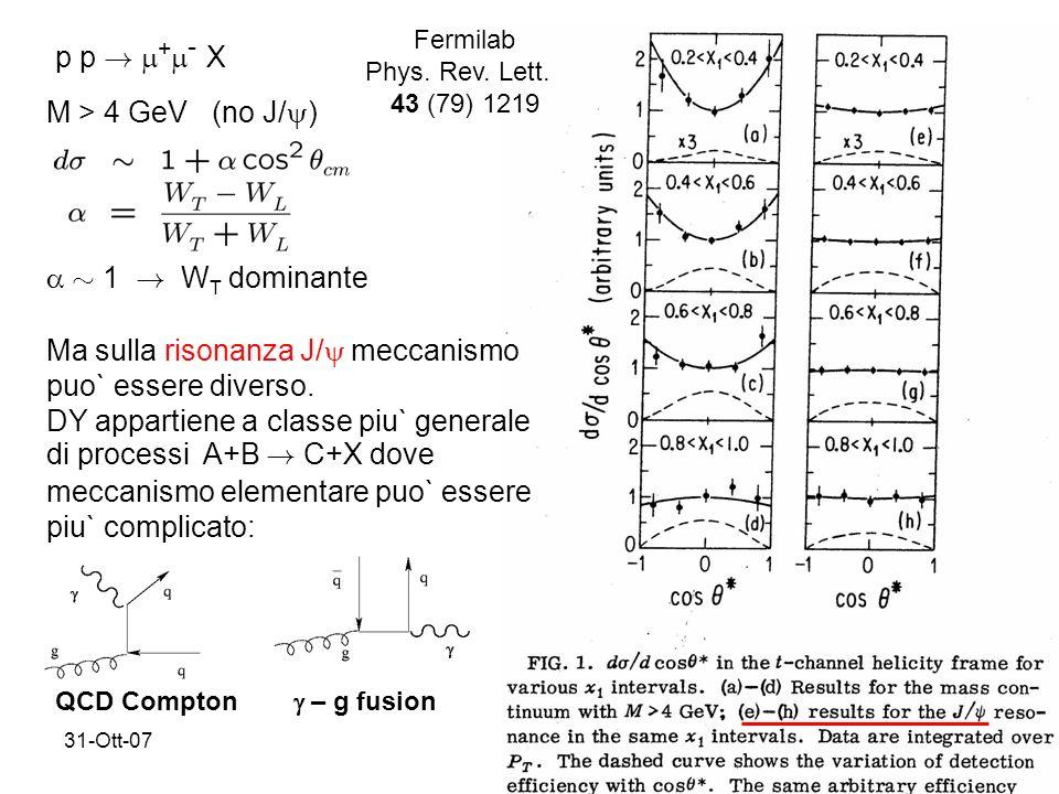 31-Ott-0717 p p . + - X M > 4 GeV (no J/ ) » 1 . W T dominante Fermilab Phys.