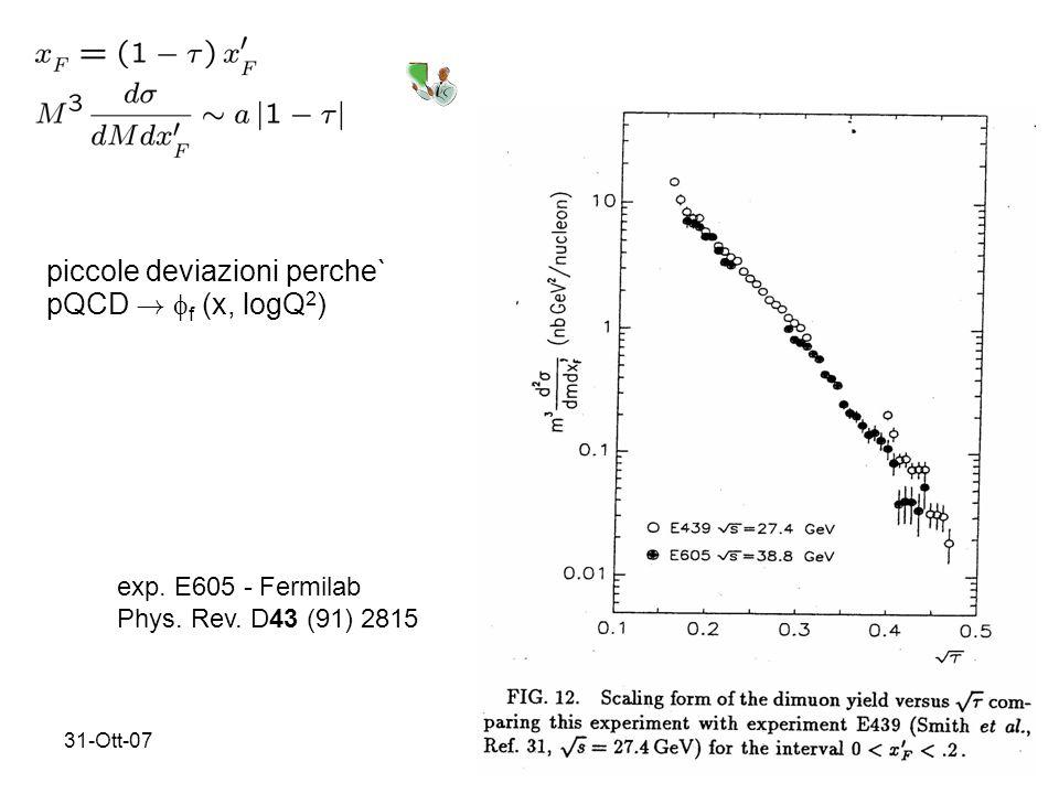 31-Ott-077 exp. E605 - Fermilab Phys. Rev. D43 (91) 2815 piccole deviazioni perche` pQCD .