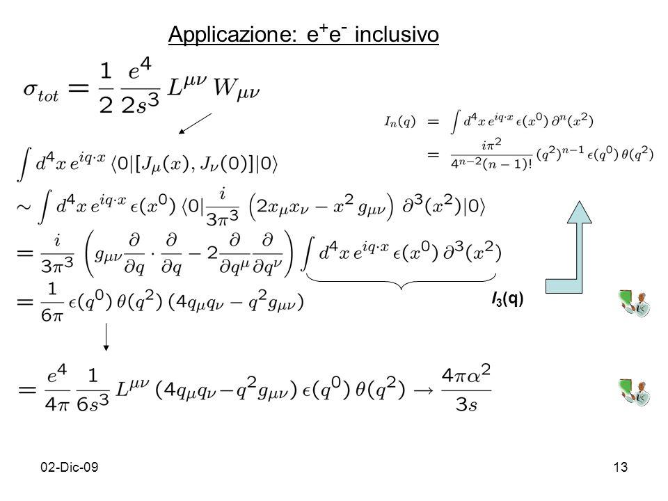 02-Dic-0913 Applicazione: e + e - inclusivo I 3 (q)