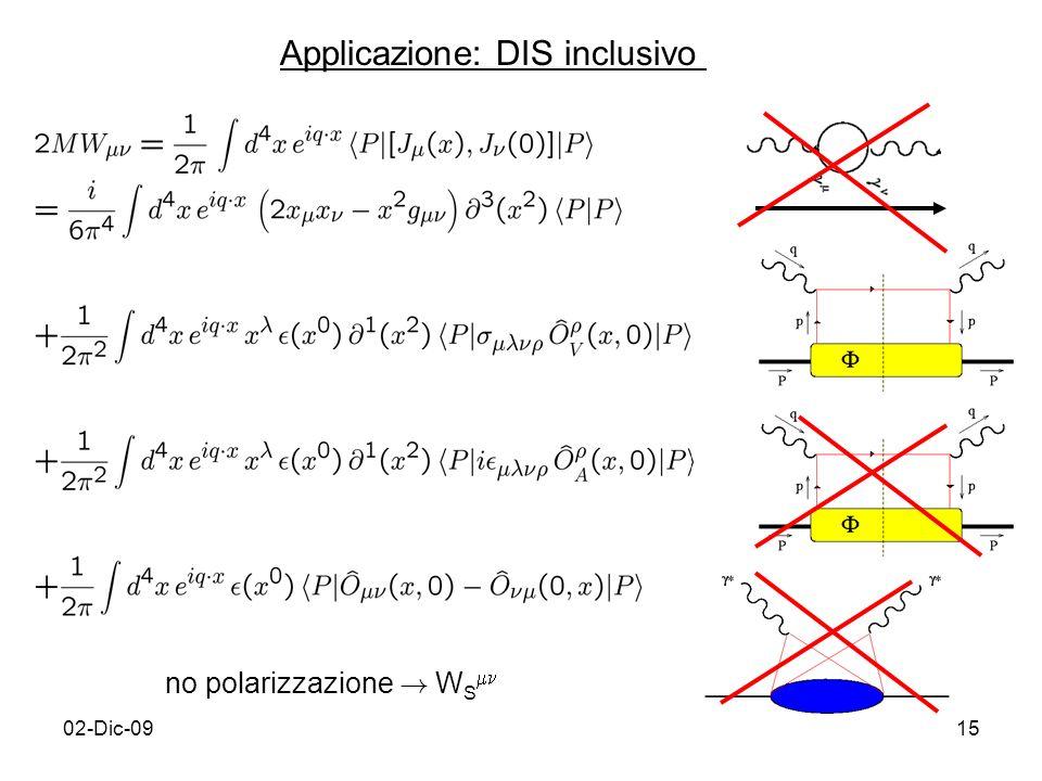02-Dic-0915 Applicazione: DIS inclusivo no polarizzazione ! W S