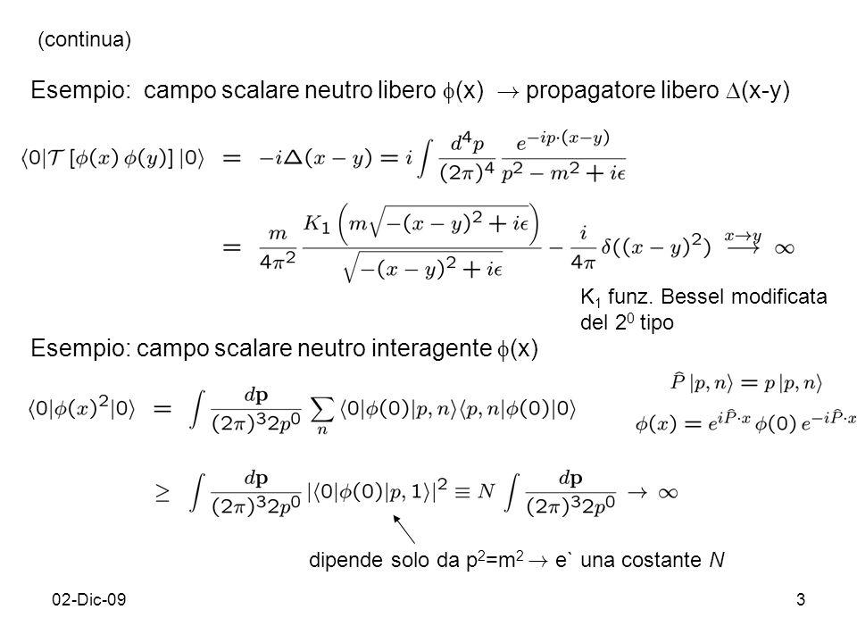 02-Dic-093 K 1 funz. Bessel modificata del 2 0 tipo Esempio: campo scalare neutro interagente (x) dipende solo da p 2 =m 2 ! e` una costante N Esempio