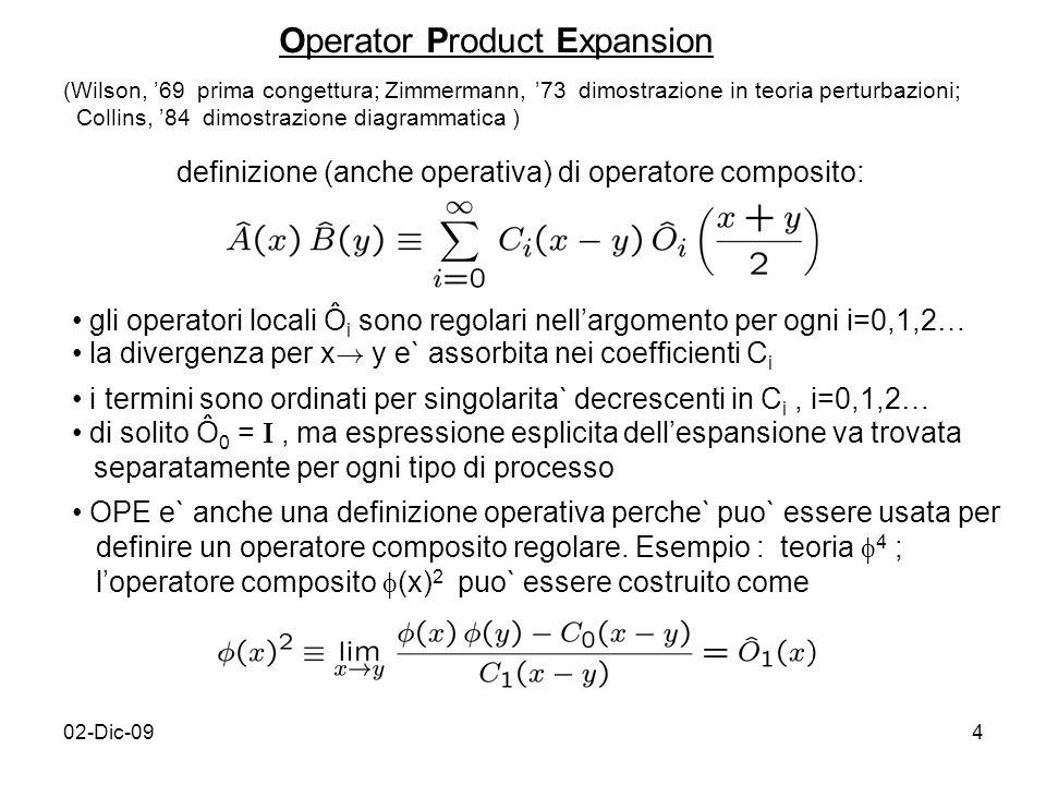02-Dic-094 Operator Product Expansion definizione (anche operativa) di operatore composito: (Wilson, 69 prima congettura; Zimmermann, 73 dimostrazione