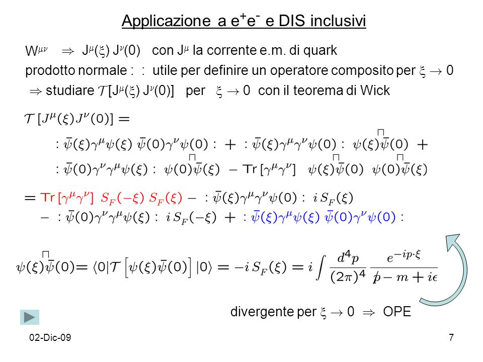 02-Dic-098 Singolarita` del propagatore fermionico libero singolarita` light-cone grado di singolarita` proporzionale a potenza di q in trasformata di Fourier singolarita` piu` alta in coefficienti di OPE contributo dominante di J in W