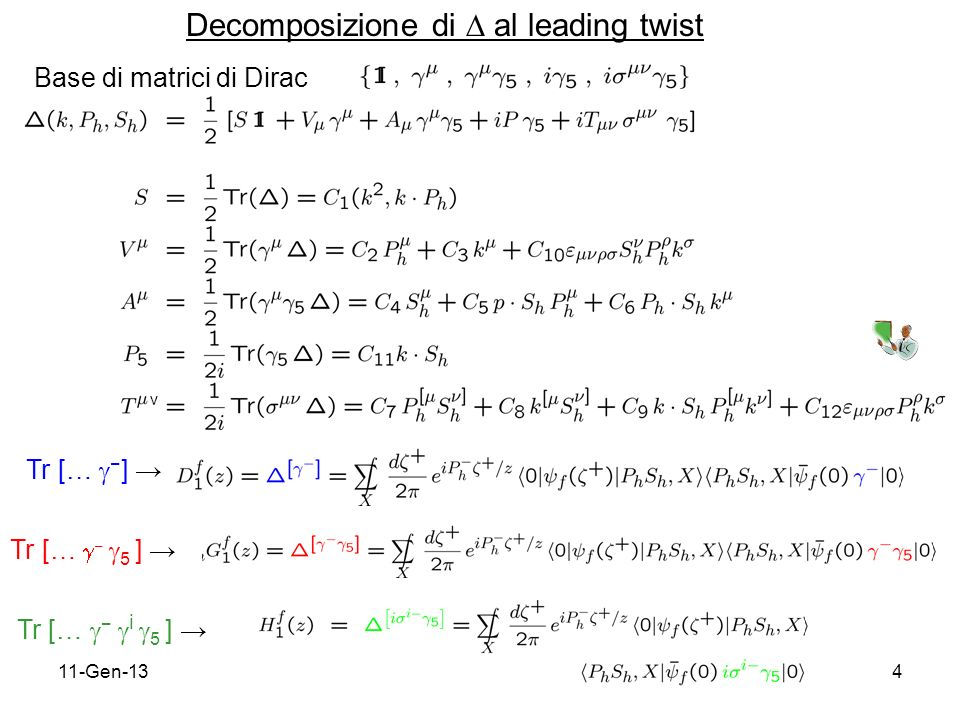 11-Gen-134 Decomposizione di al leading twist Tr [… ] Tr [… 5 ] Tr [… i 5 ] Base di matrici di Dirac ν